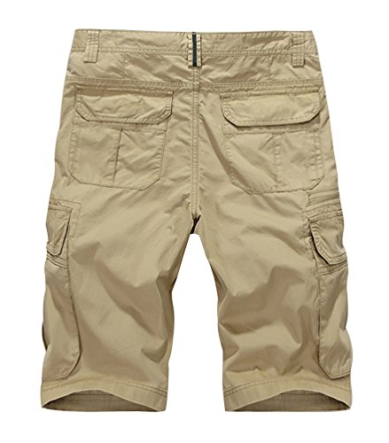 Vcansion Men's Cotton Summer Loose Fit Twill Multi Pocket Cargo Shorts Army Green US 34/Asia 36