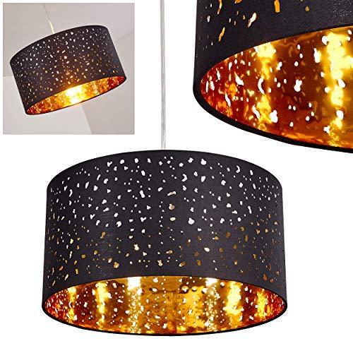 Pendelleuchte Nivel, moderne Hängelampe aus Metall/Textil in Schwarz/Gold, Ø 40 cm, Höhe max. 170 cm, E27 max. 60 Watt, geeignet für LED Leuchtmittel