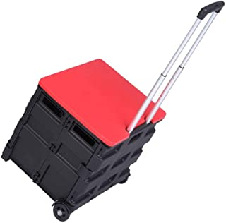 FRITHJILL 2 Wheels Rolling Utility Cart, Folding and Collapsible Hand Crate Heavy Duty Light Weight 80LB Load Capacity Collapsible Handcart with Red Lid
