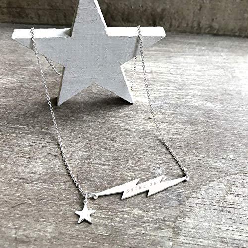 Personalisierte Sterling Silber Blitz Halskette mit Stern, himmlischer schmuck, geburtstagsgeschenk, hochzeitstagsgeschenk