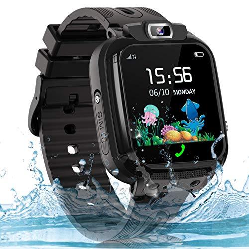 Smartwatch Kinder Uhr Telefon Kinder Smartwatch mit LBS Tracker Voice Chat, wasserdichte Kids Smart Watches für Jungen und Mädchen Geburtstagsgeschenk, Schwarz