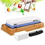 AivaToba Whetstone Knife Sharpening Stone Dual Side Grit 1000/6000 Whetstone Knife Sharpener, Waterstone Sharpening Kit Water Stone for Kitchen with Angle Guide, NonSlip Bamboo Base