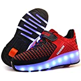 Nsasy Roller Shoes Girls Roller Skate Shoes Boys Kids Rechargeable LED Light up Shoes Chargeable Roller Sneakers Shoes with Wheels