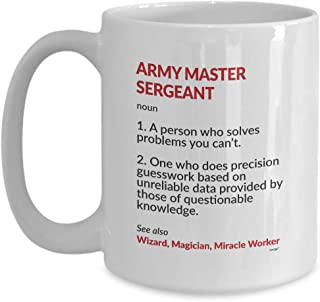 Army Master Sergeant Coffee Mug - Funny Definition Noun Tea Cup Gift Ideas for Men Women on Christmas Birthday 11 oz or Large 15 oz By Whizk MDF0955