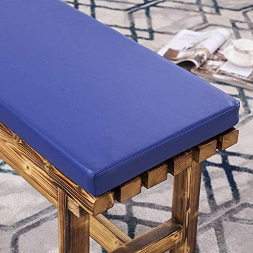 Cojín impermeable de cuero sintético con funda desmontable, acolchado de espuma de lujo suave para silla reclinable de jardín, resistente a los rayos UV, azul, 100 x 40 cm