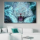 wZUN Fabuloso relámpago Leopardo de Las Nieves Arte Mural impresión Tigre Animal Cartel Imagen en Lienzo para la decoración Moderna de la Sala de Estar 50X70CM