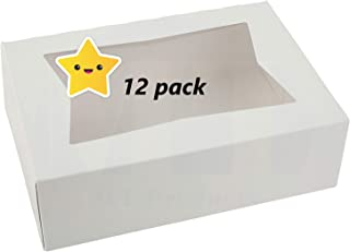 Bakery Boxes with Window - White Kraft Paperboard Auto-Popup Window Pastry/Bakery Box - Cookie Boxes with Window - 8 Inch Cake Box - Cookies Boxes with Window - Pastries Boxes - 12 Pieces Pack