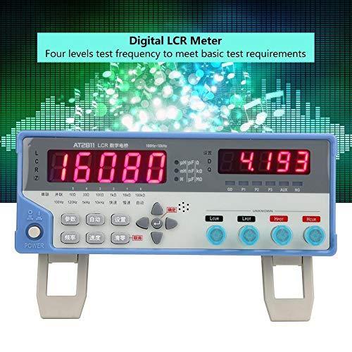 Medidor digital de LCR, AT2811 Probador de multímetro de puente LCR Instrumento de medición de capacitancia para prueba de inductancia de impedancia de resistencia de capacitancia(UE)