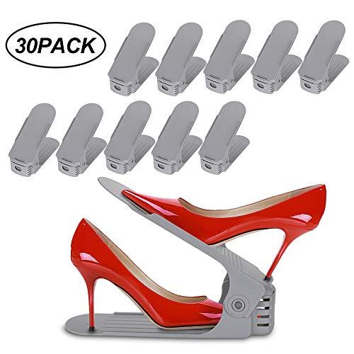 wolketon 30pcs Organizadores de Zapatos Ajustables, Durable Gris Soportes de Calzado con Ranuras Ahorro de Espacio para Tacones Altos Zapatos Planos