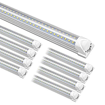 Kihung 8FT LED Shop Lights for Garage, T8 Integrated Tube Light Fixture, 6000K Daylight. 8500LM, 75W, LED Tube Light Replacement, Linkable Strip Ceiling Lights, Plug and Play, Frosted Cover, 8-Pack