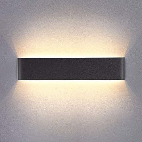 Yafido Aplique Pared Interior LED 14W Lámpara de pared Moderna Negro Blanco Cálido Aluminio Acrílico perfecto para Salon Dormitorio Sala Pasillo Escalera 40CM
