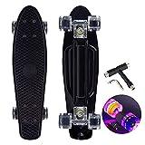 22 Zoll Skateboard Mini Cruiser Retro Board Komplettboard für Anfänger Kinder Jugendliche und Erwachsene, 57x16cm Komplett Board mit ABEC-7 Kugellager, LED PU Leuchtrollen, T-Tool (schwarz)