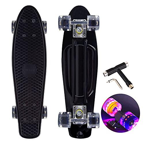 Skateboard Mini Cruiser rétro de 22' - Pour débutants, enfants, adolescents et adultes - 57 x 16 cm - Avec roulements à billes ABEC-7 - Roues lumineuses en polyuréthane - T-Tool (noir)