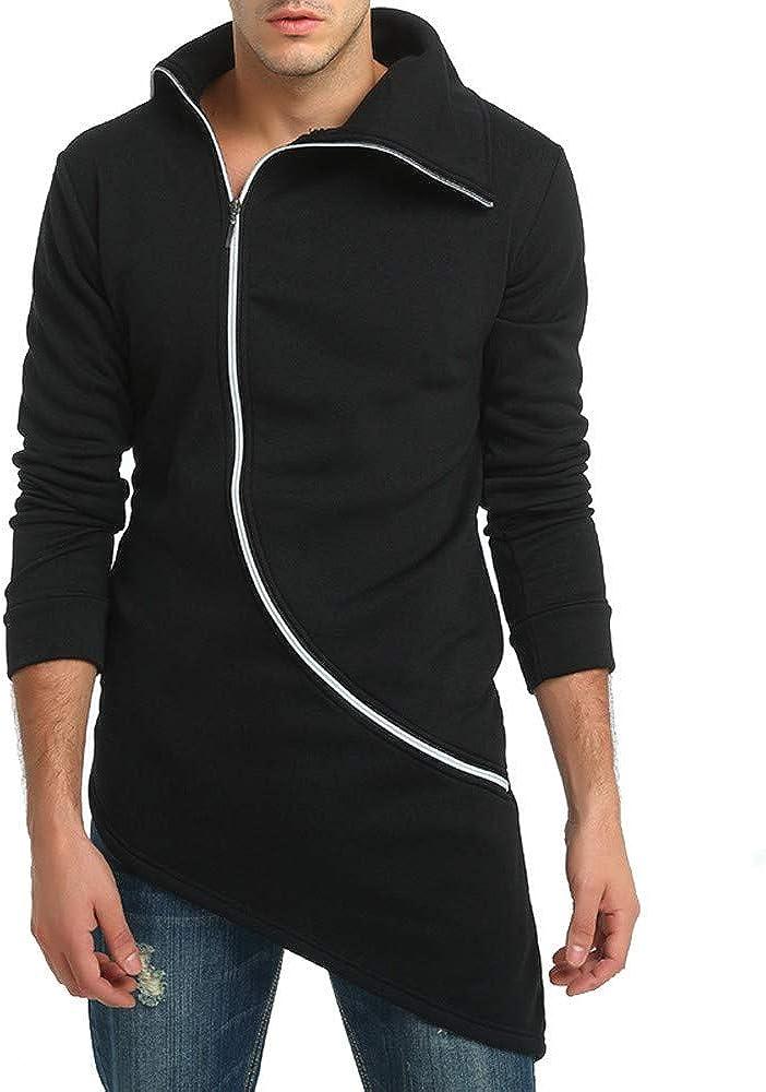 MODOQO Men's Zipper Jacket Casual Irregular Hem Sweatshirt Long Sleeve Pullover Coat