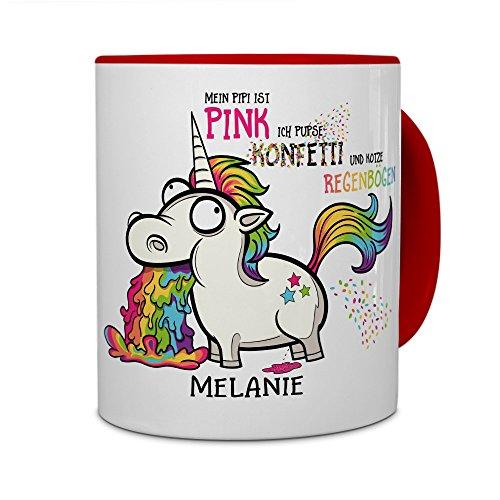 printplanet® Tasse mit Namen Melanie - Motiv Einhorn - Namenstasse, Kaffeebecher, Mug, Becher, Kaffeetasse - Farbe Rot