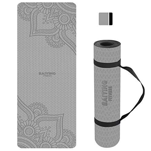 BAIYING Yogamatte, TPE Gymnastikmatte rutschfest Fitnessmatte für Workout Umweltfreundlich Übungsmatte Sportmatte für Yoga, Pilates Heimtraining, 183 x 61 x 0.6CM (Greyblue)