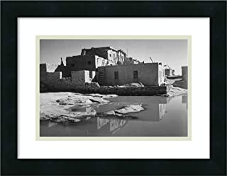 Framed Wall Art Print Adobe House with Water in Foreground Acoma Pueblo New Mexico National Parks and Monuments ca by Ansel Adams 18.00 x 14.00