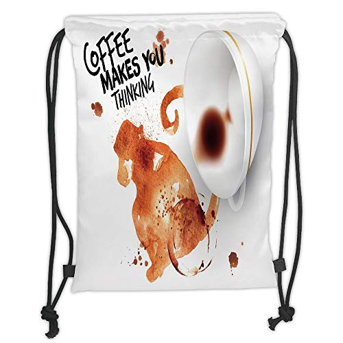 Drawstring Backpacks Bags,Coffee Art,Thinking Monkey Animal with Fun Lettering and Inverted Coffee Cup Decorative,Burnt Sienna Black White Soft Satin,5 Liter Capacity,Adjustable St