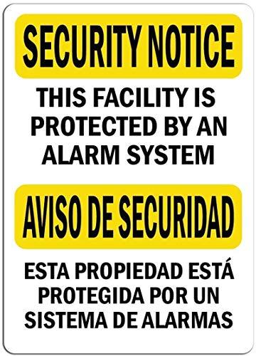 Aviso de seguridad Fility protegido por alarma Cartel de hierro español Cartel de puerta de pared de hojalata Cartel de chapa de acero Cartel de pared Decoraciones artísticas para ,30x40cm