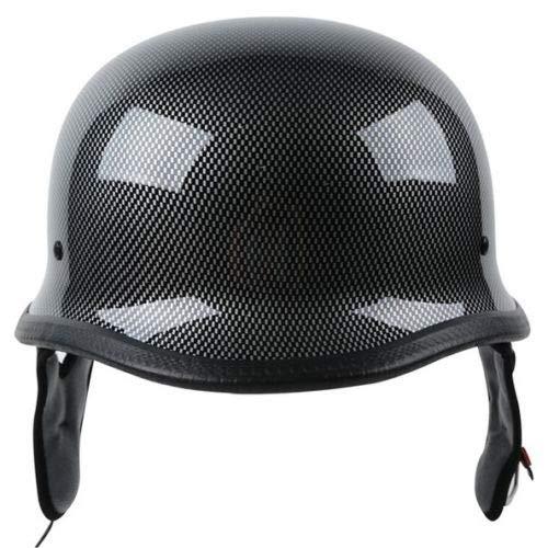 TCMT DOT German Motorcycle Open Face Helmet for Chopper Cruiser Biker (Carbon Fiber Graphics, XL)
