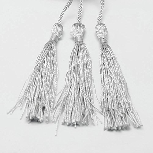 Perlin 10 Quasten Tassel Nylon Anhänger Silber Grau 12cm für Schmuckherstellung DEK31