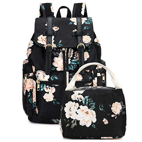 Girls School Backpack Women College Bookbag Lady Travel Rucksack 15.6Inch Laptop Bag (S-Black Peony+Lunch bag1)