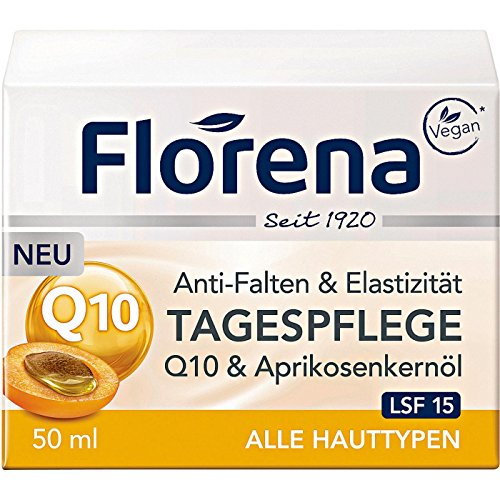 Florena Anti-Falten Tagespflege Q10 und Aprikosenkernöl, Vegan, 1er Pack (1 x 50 ml)