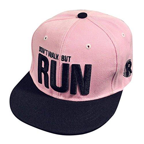 Voberry Unisex Baseball Cap Teen Boys Girls Embroidery Snapback Hip Hop Flat Hat (Pink)