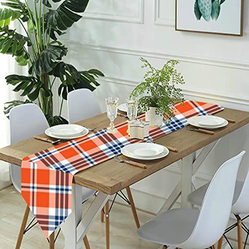 Reebos Camino de mesa de lino para aparador, camino de mesa de cocina a cuadros, color azul y naranja, para cenas de granja, fiestas de vacaciones, bodas, eventos, decoración – 33 x 70 pulgadas