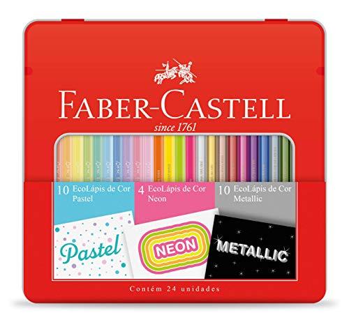 Kit Lápis de Cor Pastel + Neon + Metálico, Faber-Castell, EcoLápis, KIT/CORES, 24 Cores
