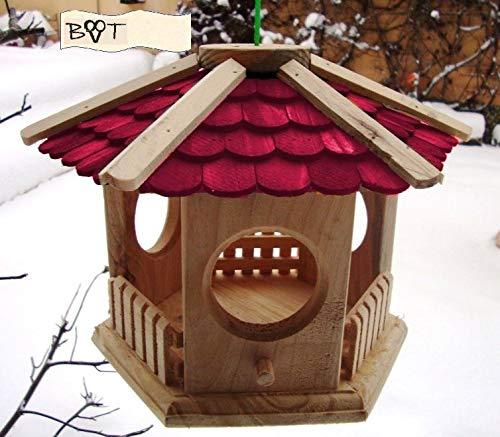BTV Vogelhaus, Futterhaus, Holz massiv, Natur-Vogelhäuser in PREMIUMQUALITÄT, kleines Vogelfutterhaus in Größe 25 cm ro