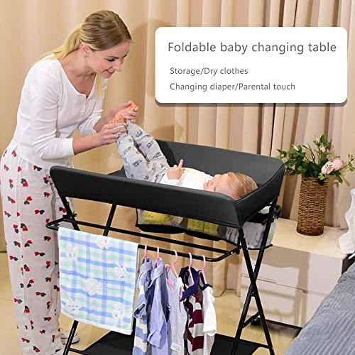Cambiador De Pañales Plegable Portátil con Ruedas, Cambiador De Cama Móvil con Cinturón De Seguridad, Estante para Colgar Y Bolsillo De Almacenamiento para Bebé Recién Nacido