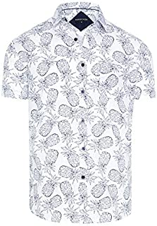 Tarocash Men's Tropical Pineapple Print Shirt Regular Fit Long Sleeve Sizes XS-5XL for Going Out Smart Occasionwear