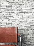 Steintapete in Weiß   schöne edle Tapete im Steinmauer Design   moderne 3D Optik für Wohnzimmer, Schlafzimmer oder Küche inklusive der Newroom-Tapezier-Profi-Broschüre, mit Tipps für perfekte Wände - 3