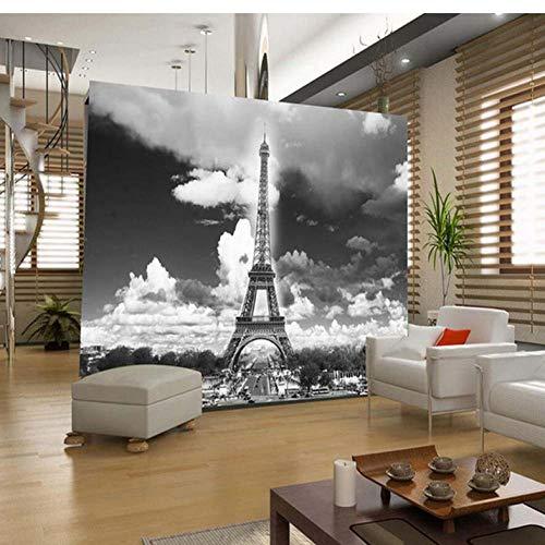Dalxsh France Paris Eiffel Tower Photo Mural Hd Wall Paper Wall Art Decor 3D Photo Wallpaper Papier Peint Pour Les MURS 3 D Black White -250X175Cm