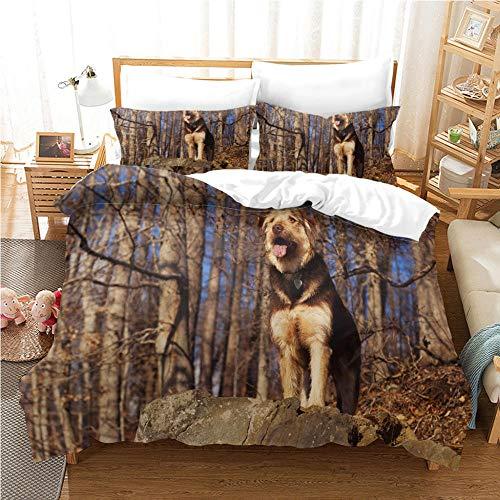 Funda Nordica Cama 105 - 200x200 cm Perro del Bosque Serie Ropa de Cama Apto para Adultos y niños con 2 Funda de Almohada 40x75 cm