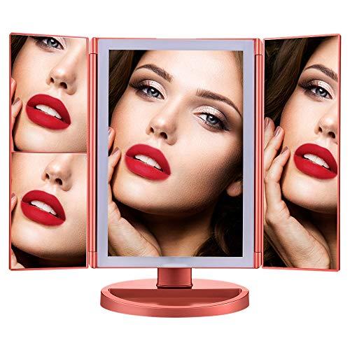 Ammiy Schminkspiegel 1x / 2X / 3X / 10x Vergrößerung 21 LED-Leuchten Touchscreen-Schalter Dreifachgefaltetes Design 180 ° Drehungs Tray Kosmetikspiegel Power durch USB Aufladung (Roségold)