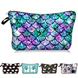 Multicolored Glowing Mermaid Cosmetic Bag Makeup Bags,Small Makeup Pouch Travel Toiletry Organizer With Zipper For Women Girls