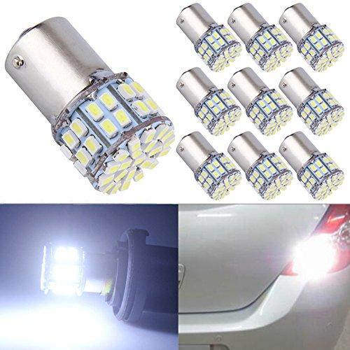 TABEN Super Brillant 400LM P21/5W 1157 BAY15D 2057 1016 50-SMD 1206 Ampoules LED Blanches Voiture Reverse Backup Tail Clignotants Lumières Intérieur RV Camper Lumière Bulb 12V (Pack de 10