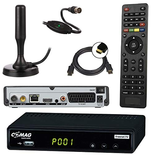 netshop 25 Set: Comag SL65T2 DVB-T2 Receiver (3 Monate FREENET TV) + aktive DVB-T2 Antenne + HDMI Kabel, HDTV, PVR Ready, HD USB Mediaplayer, HDMI & SCART Ausgang, schwarz