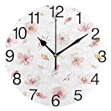 Meili Shop Plumas y Flores Silvestres Reloj de Pared Redondo Reloj de Escritorio para la decoración de la Escuela de la Oficina en casa