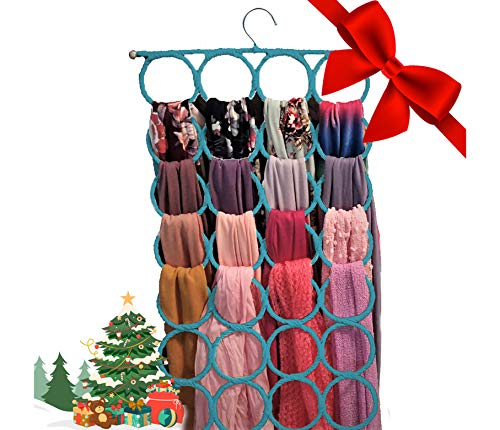 Scarf Hanger ~ Multiple Purpose Holder for Closet ~ Clutter Removing and Space-Saving Hanger for Scarves, Shawl, Belts & Accessories ~ Scarf Hanger 28 Rings (Sky Blue)