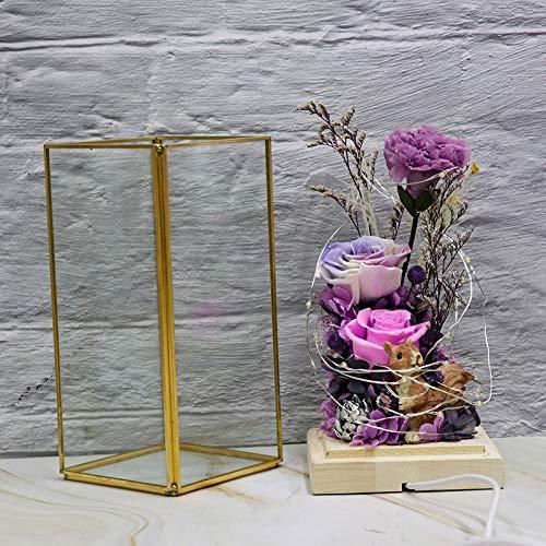 DKFS Eeuwige bloem glazen pot roos bloem Valentijnsdag kerstster festival geschenk eeuwige bloem geschenkdoos lila