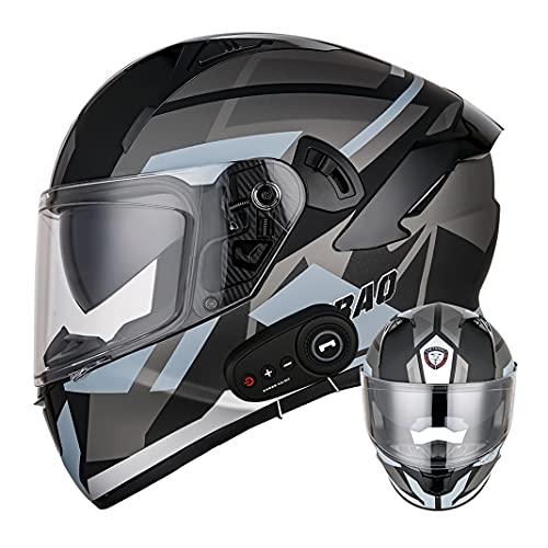 Casco integral para motocicleta certificado D.O.T con Bluetooth para adultos con Lente antivaho doble Cascos abatibles negros mate para motocicleta Cruiser Chopper (Flecha gris) (55~57cm M)