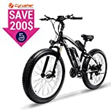 Cyrusher Fat Tire Bike Snow Bike Mountain Bike with Motor 500W 48V Lithium Battery Extrbici XF660 Shimano 7 Speeds System 4.0 inch Fat Tire Suspension Fork Dual Disc Brakes (Black White)