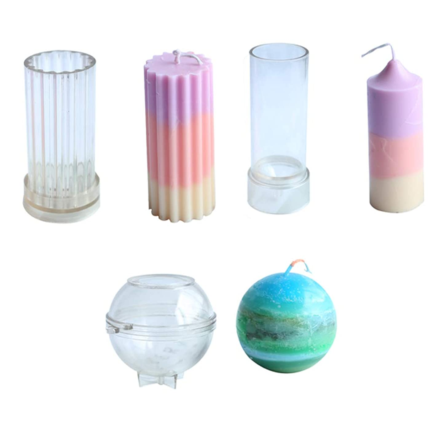 Candle Molds for Candle Making Plastic Pillar Candle Making Kit Ball Sphere Mold Large Cylinder Rib Candle Making Molds DIY Candle Making Supplies Set of 3 PCS s57863318976394