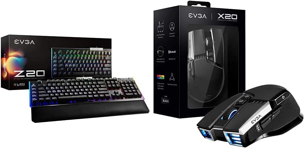 EVGA Z20 RGB Optical Mechanical Gaming Keyboard with EVGA X20 Gaming Mouse, Wireless, Black, Customizable, 16,000 DPI, 5 Profiles, 10 Buttons, Ergonomic 903-T1-20BK-KR