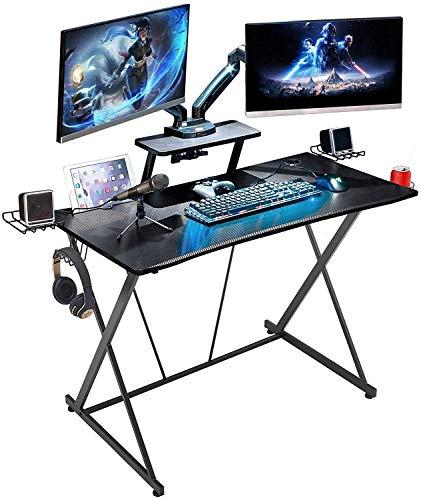 YUYANDE Scrivania da Gioco 41 Pollici Distania X Shape Desk per Ufficio con Monitor Shelf Tazza Holder Gancio per Cuffie per Ga