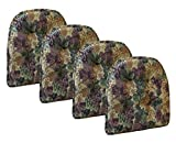 Klear Vu Cabernet Gripper Tufted Non Slip Designer Tapestry Dining Chair Cushion, Set of 4, 4 Pack, Multicolor
