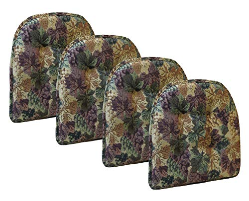 Klear Vu Cabernet Gripper Tufted Non Slip Designer Tapestry Dining Chair Cushion, Set of 4, 4 Pack, Multicolor